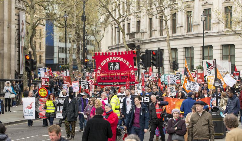 Anti-Austerity March. Reported by the police, over hundred thousand people marched on Trafalgar Square protesting the conservative government policies stock images