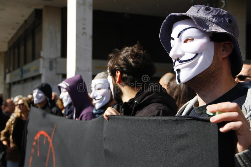 Anti-austerity protest in Athens ends with minor scale clashes royalty free stock photo