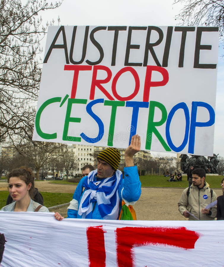 anti austerityparis protest royaltyfria foton
