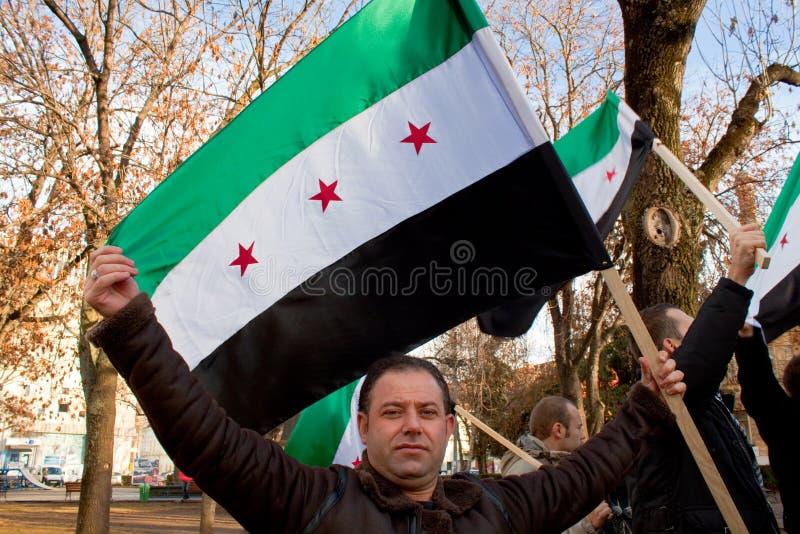 Anti-Bachar Al-Assad manifestant sírio fotos de stock royalty free