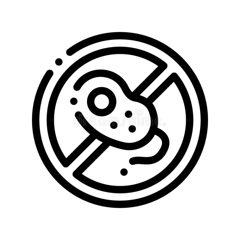 Anti Bacillus Bacteria Vector Thin Line Sign Icon. Forbidden Mark With Bacteria Linear Pictogram. Chemical Microbe Type Infection Microorganism Bacteriology vector illustration