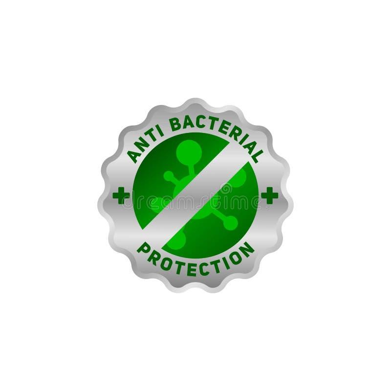 Anti-bakterie- skyddssymbol, f?r din sunda produkt royaltyfri illustrationer