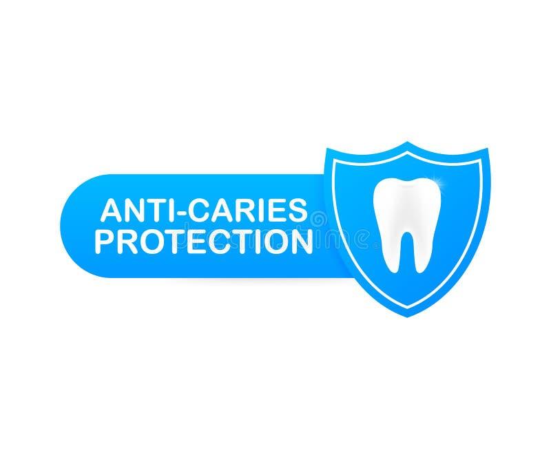 Anti-bederfbescherming Tanden met het ontwerp van het schildpictogram Geïsoleerd over witte achtergrond Gezonde tanden Menselijke stock illustratie