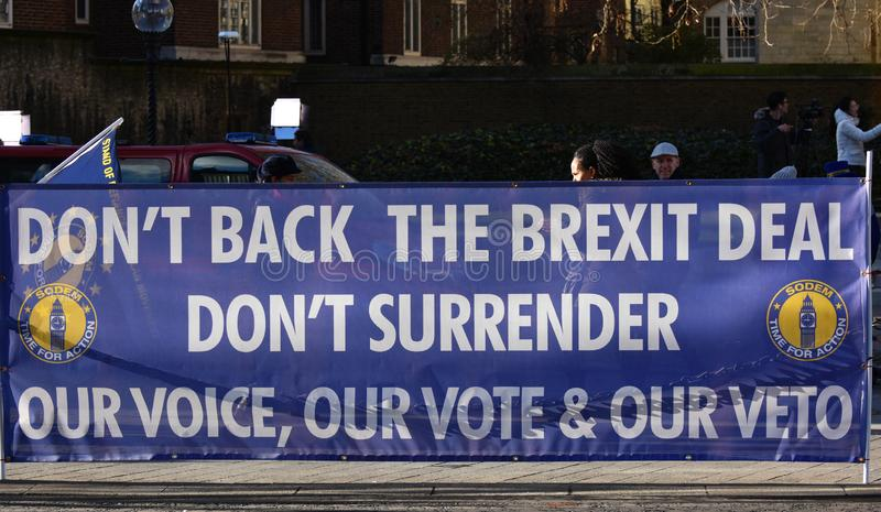 Anti Brexit Deal Banner In Westminster London, UK Jan 2019. London, UK, January 17 2019. Protestors` anti Brexit Deal banner on the roadside outside the British royalty free stock images