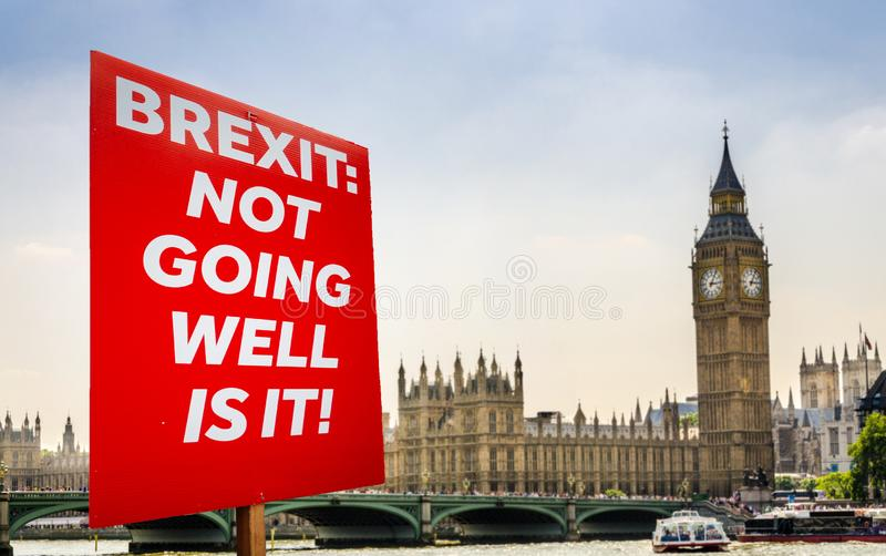 Anti-Brexit placard composite at Westminster, London, UK. Placard with anti-Brexit message with Big Ben and Houses of Parliament, London in background royalty free stock images
