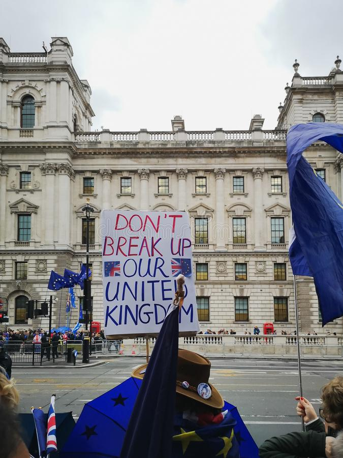 Anti-Brexit protest in London near Parliament. London, UK - 14 October, 2019: Anti-Brexit protest in London near Parliament. European Union and British Union royalty free stock photos