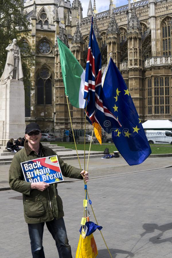 Anti-Brexit protester in London. Anti-Brexit protester outside the Houses of Parliament in London in April 2018 with bollocks to brexit stickers stock image