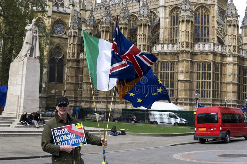 Anti-Brexit protesters in London. Anti-Brexit protesters outside the Houses of Parliament in London in April 2018 royalty free stock image