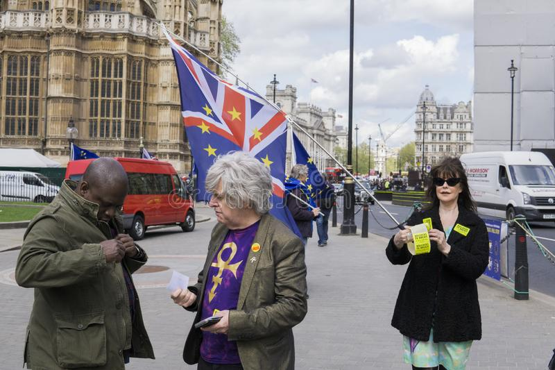 Anti-Brexit protesters in London. Anti-Brexit protesters outside the Houses of Parliament in London in April 2018 stock photography