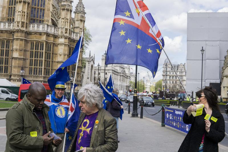 Anti-Brexit protesters in London. Anti-Brexit protesters outside the Houses of Parliament in London in April 2018 stock image
