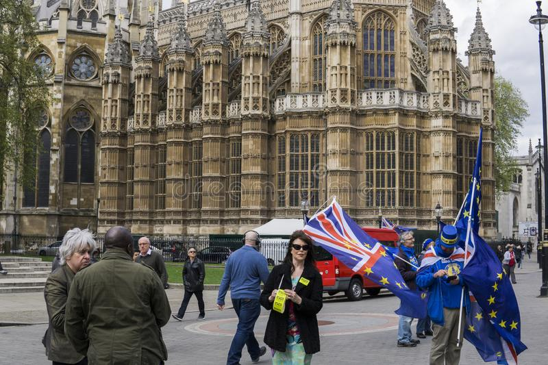 Anti-Brexit protesters in London. Anti-Brexit protesters outside the Houses of Parliament in London in April 2018 stock photo