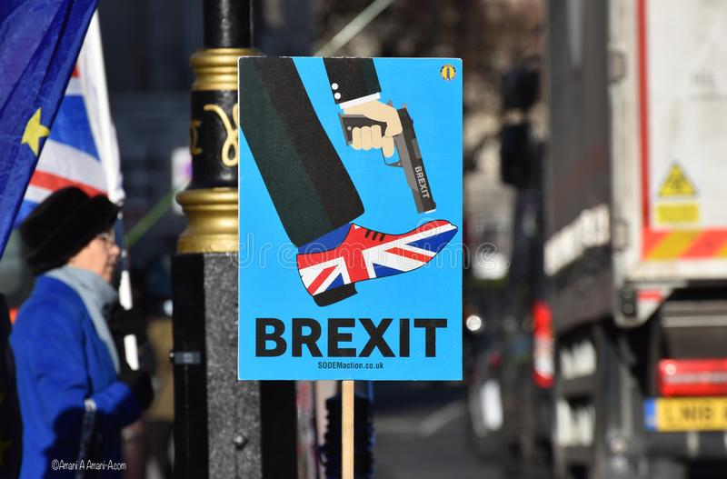 Anti Brexit Sign In London, UK Jan 2019. London, UK, January 17 2019. Anti Brexit / Pro Remain in EU sign outside the British Parliament near College Green stock photos