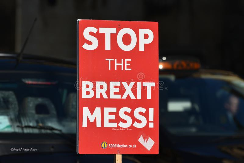 Anti Brexit Sign In London, UK Jan 2019. London, UK, January 17 2019. Anti Brexit / Pro Remain in EU sign outside the British Parliament near College Green stock image