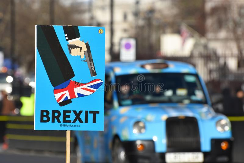 Anti Brexit Sign In London, UK Jan 2019. London, UK, January 17 2019. Anti Brexit / Pro Remain in EU sign showing Britain shooting itself in the foot outside the stock photos
