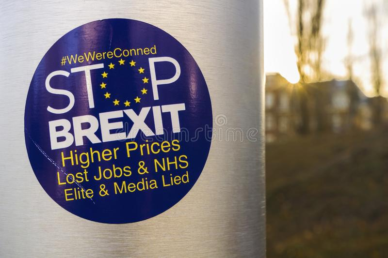Stickers anti-brexit, Strasbourg. Anti-Brexit sticker on the UK flag pole at the Council of Europe located in Strasbourg, France royalty free stock photo