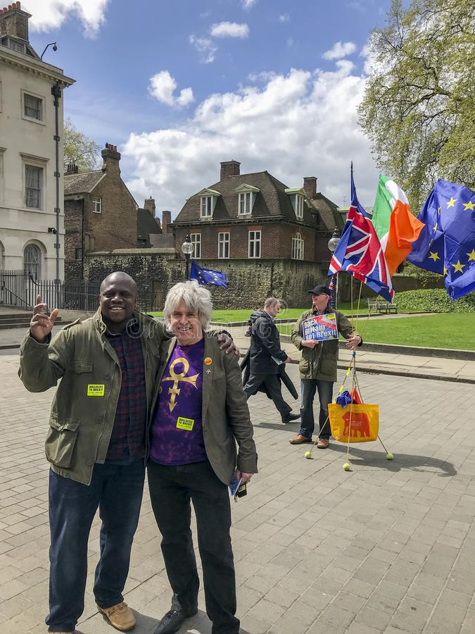 Anti--Brexitperson som protesterar i London royaltyfria bilder