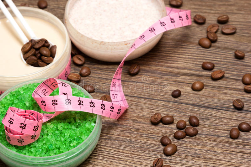 Anti-cellulite cosmetic products with caffeine royalty free stock photo