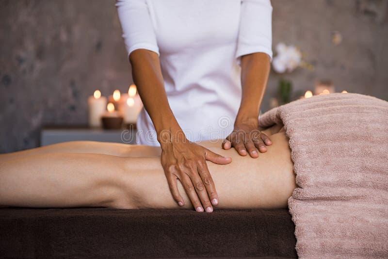 Anti cellulite leg treatment royalty free stock image