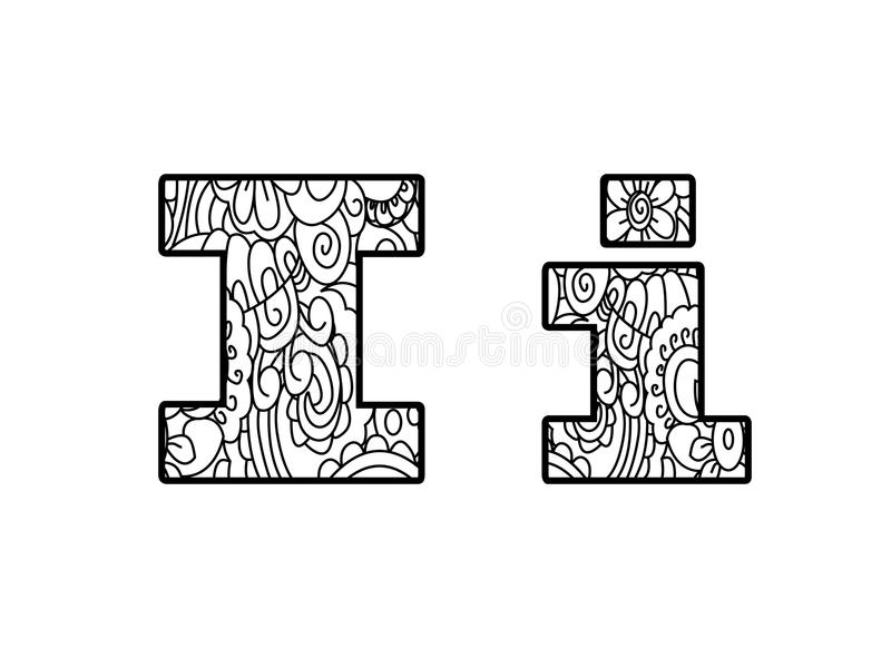 Download Anti Coloring Book Alphabet The Letter I Raster Illustration Stock