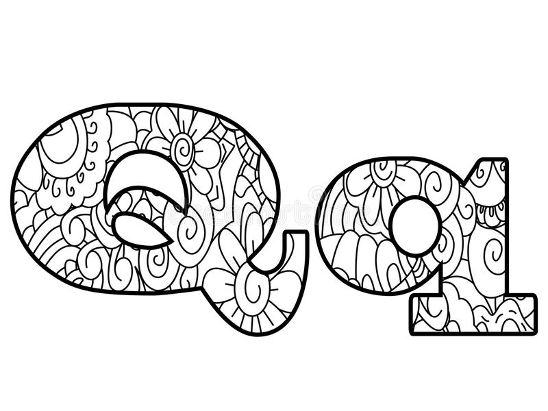 Anti Coloring Book Alphabet The Letter Q Vector