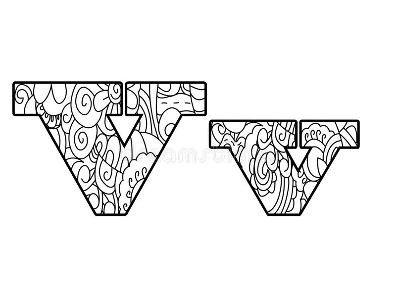 Anti Coloring Book Alphabet, The Letter V Vector Illustration ...