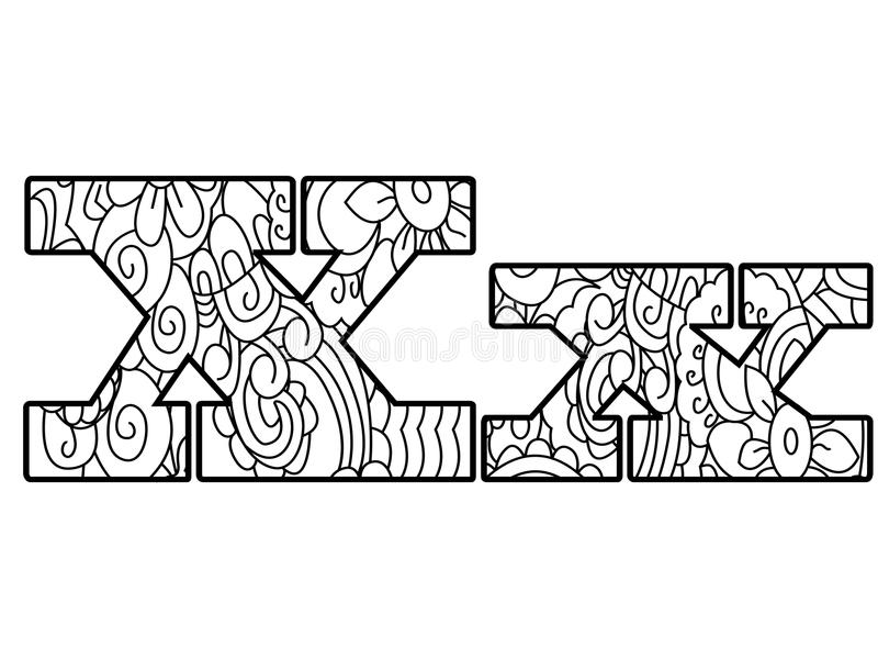 Download Anti Coloring Book Alphabet The Letter X Vector Illustration Stock