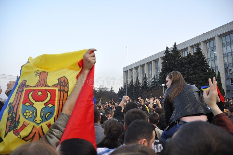 Anti-Communist demonstrators protests in Chisinau stock photography