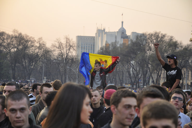 Anti-communistische demonstratiesystemenprotesten in Chisinau royalty-vrije stock fotografie