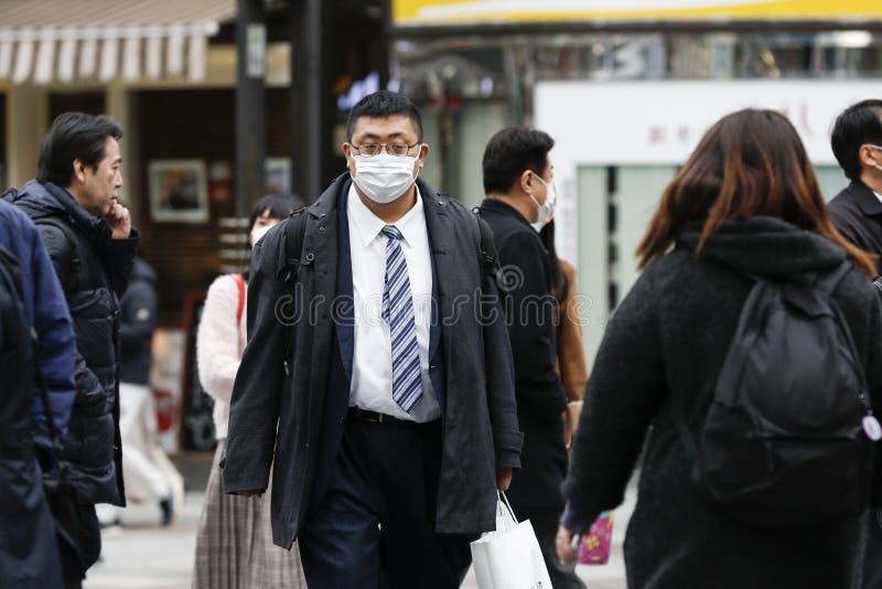 Anti-coronavirus prevention measures in Tokyo royalty free stock image