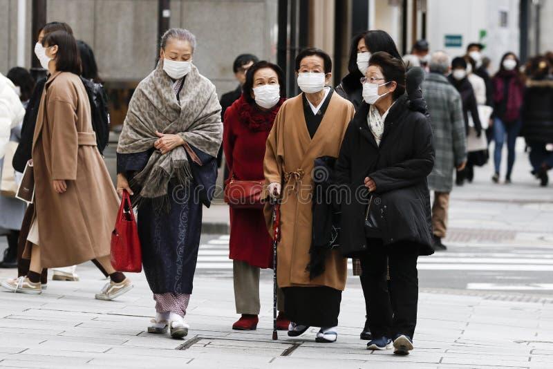 Anti-coronavirus prevention measures in Tokyo stock image