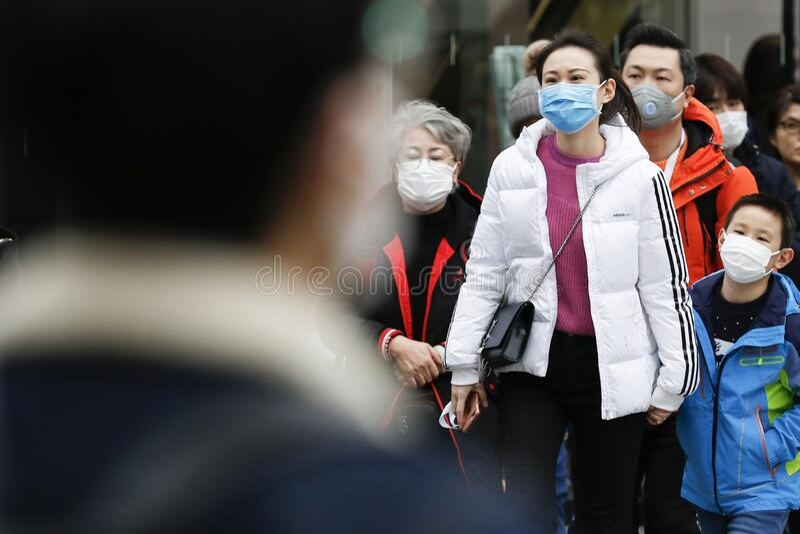 Anti-coronavirus prevention measures in Tokyo royalty free stock photos