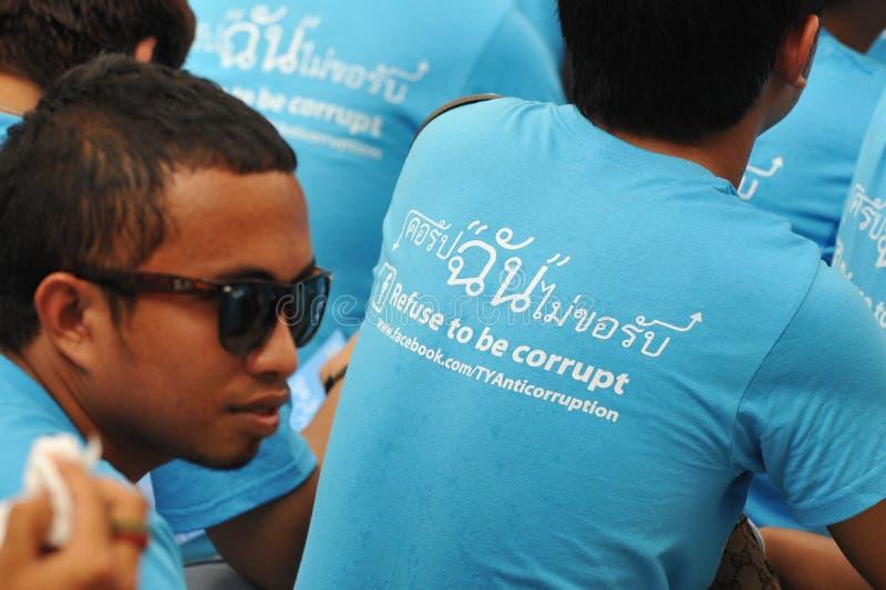 Anti-corruptie Verzameling in Bangkok royalty-vrije stock afbeeldingen