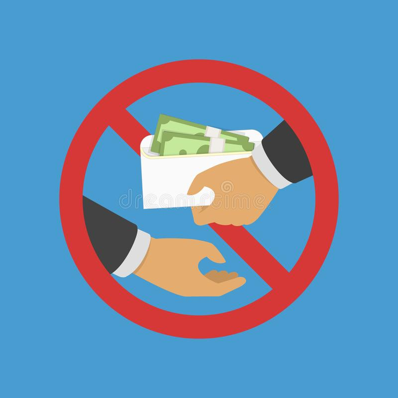 Anti corruption concept. Man gives an envelope with money another man. Businessman giving a bribe. Cash in hands of businessmen during corruption deal. Vector vector illustration