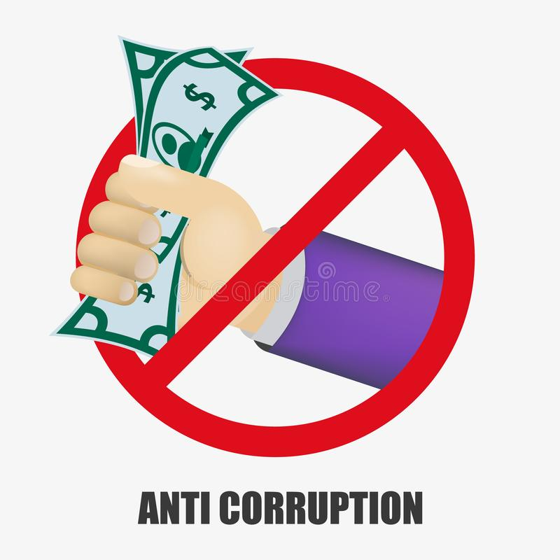 Anti Corruption concept. Man gives an envelope with money another man. Businessman giving a bribe. Cash in hands of businessmen vector illustration