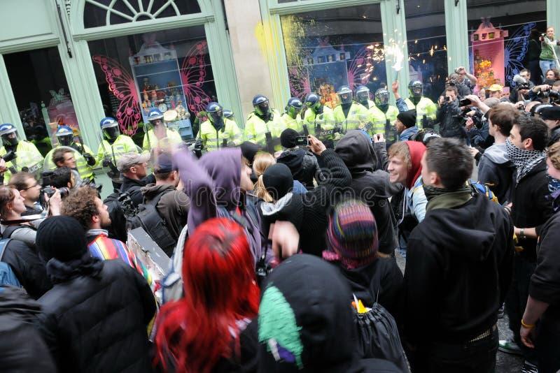 Anti-Cortam o protesto em Londres fotografia de stock royalty free