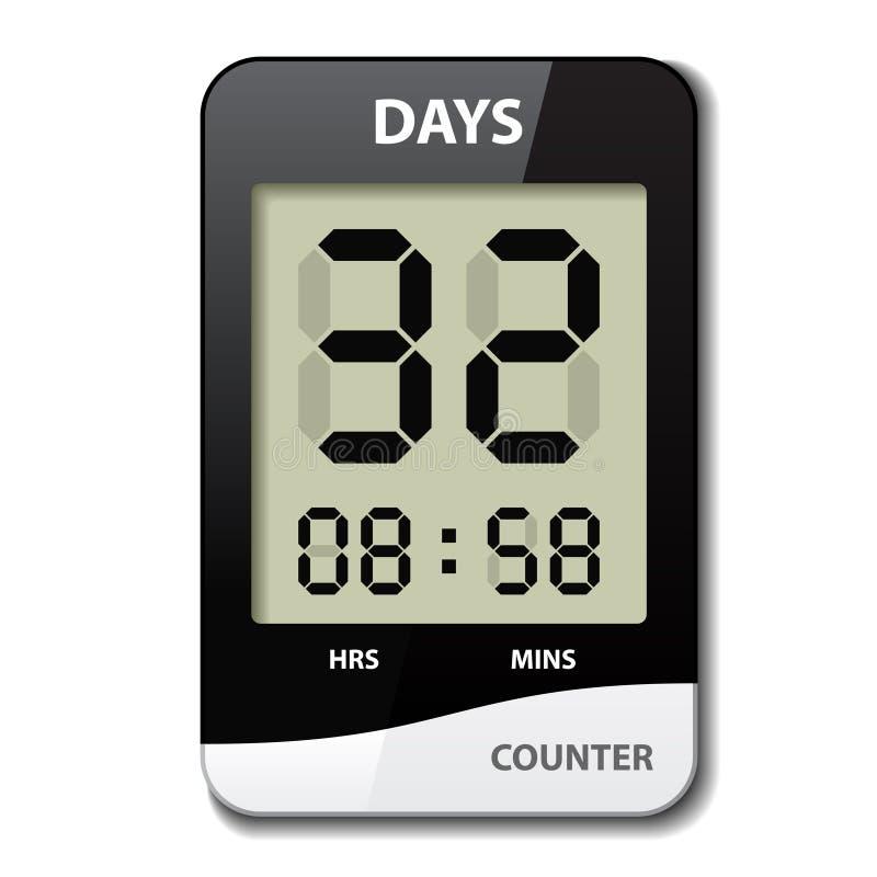 Anti- Count-downtimer schwarzes Weiß LCD lizenzfreie abbildung