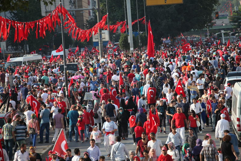 Anti-coup protest in Turkey stock photo