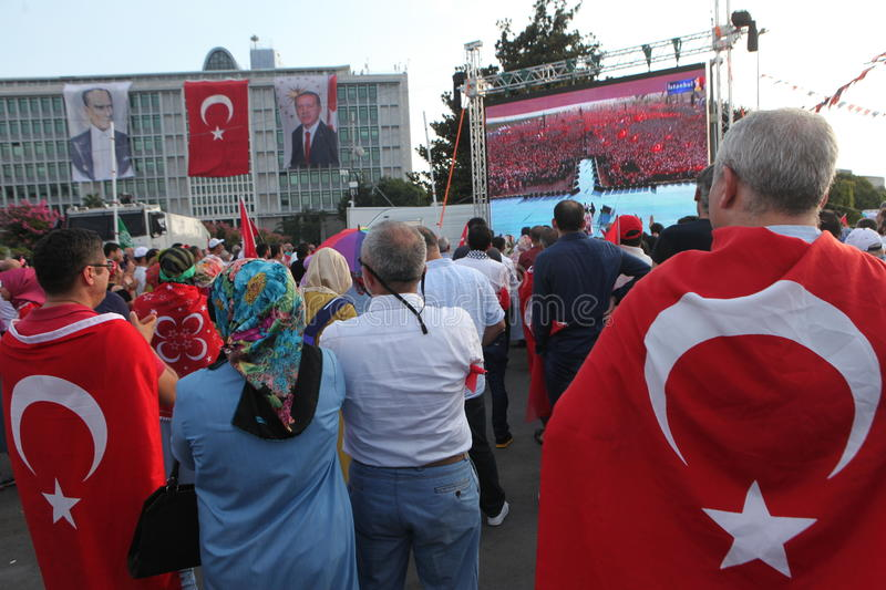 Anti-coup protest in Turkey royalty free stock photos