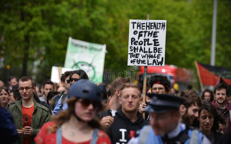 Anti Cuts Rally in London. Protesters rally against public sector spending cuts following the re-election of the Conservative party on May 30, 2015 in London, UK stock image
