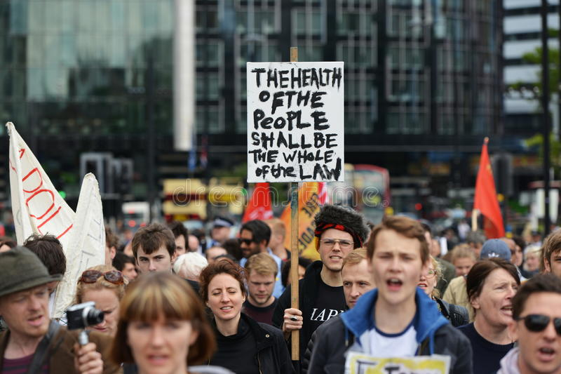 Anti Cuts Rally in London. Protesters rally against public sector spending cuts following the re-election of the Conservative party on May 30, 2015 in London, UK stock photography