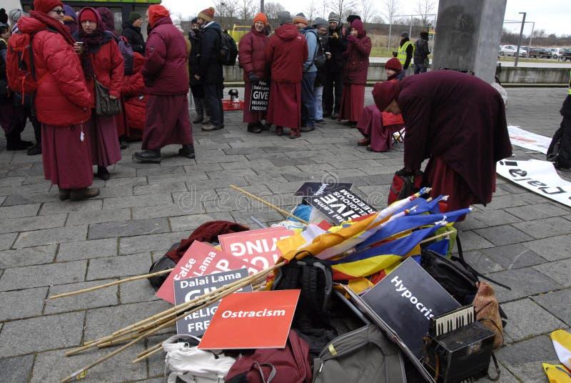 ANTI-DALAI LAMA-PROTEST stockfotografie