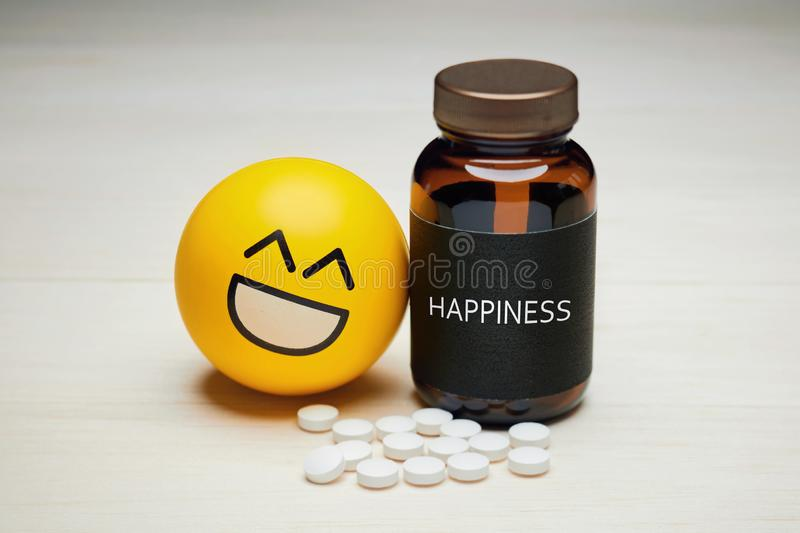 Anti depressant drug use and happiness royalty free stock photo