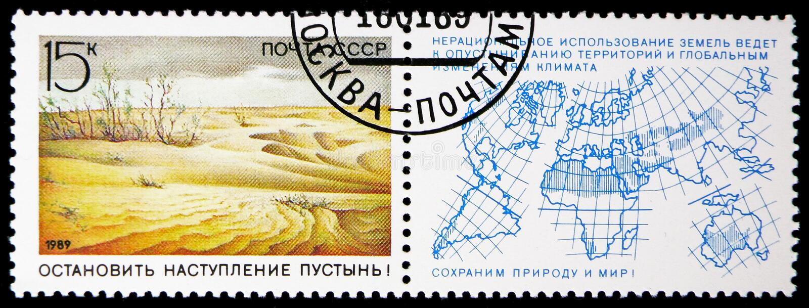 Anti-desertification campaign, Nature Conservation serie, circa 1989. MOSCOW, RUSSIA - NOVEMBER 10, 2018: A stamp printed in USSR (Russia) shows Anti stock image