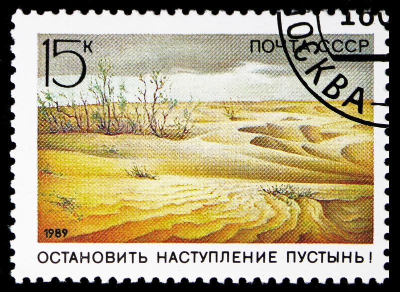 Anti-desertification campaign, Nature Conservation serie, circa 1989. MOSCOW, RUSSIA - NOVEMBER 10, 2018: A stamp printed in USSR (Russia) shows Anti royalty free stock photography