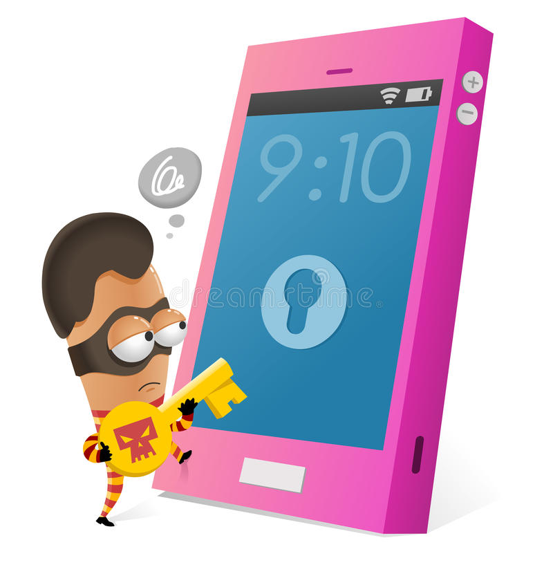 Anti-diefstal app voor smartphone royalty-vrije illustratie