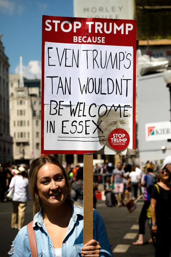 Anti Donald Trump Rally à Londres centrale images libres de droits