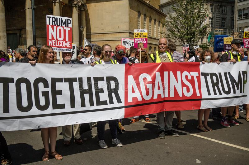 Anti Donald Trump Rally in Central London stock image