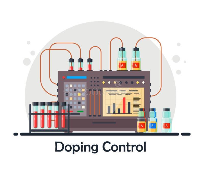 Anti--dopa laboratoriumet för blod, urinprov, medicinsk utrustning för analys och dopa kontroll med sond A och B stock illustrationer