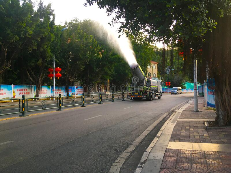 Anti-epidemiological treatment of streets in China royalty free stock image