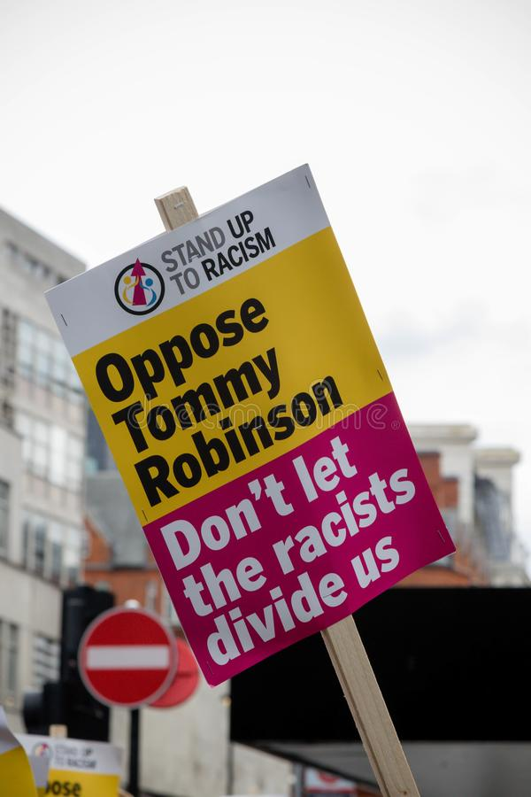 Anti fascist protests in London stock images